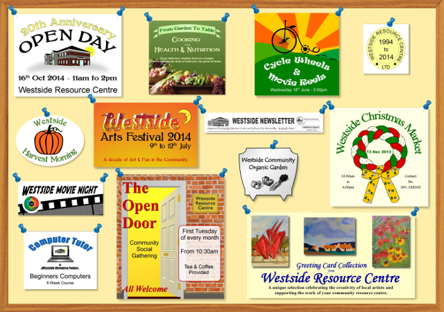 image of noticeboard highlighting some of the events and activities at Westside Resource Centre